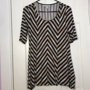 Dana Buchman | Striped Black & Cream Blouse
